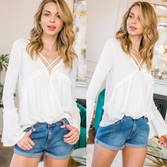 KismetsKloset Tops - 🎉🎉HP🎉🎉CALLA LILY Wrapped Bell Sleeve Top